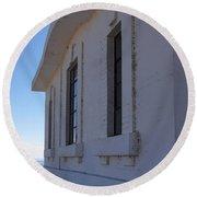 Point Abino Lighthouse Windows Round Beach Towel