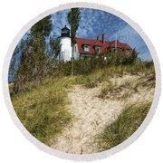 Point Betsie Lighthouse On Lake Michigan Round Beach Towel