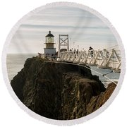 Point Bonita Lighthouse Round Beach Towel
