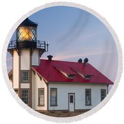 Point Cabrillo Lighthouse Round Beach Towel