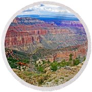 Point Imperial 8803 Feet On North Rim Of Grand Canyon National Park-arizona   Round Beach Towel