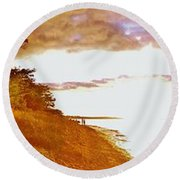 Point Iroquois Pano Sunset Round Beach Towel