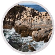 Point Lobos Coast 2 Round Beach Towel