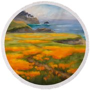 Point Lobos Poppies Round Beach Towel