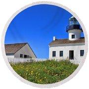 Point Loma Lighthouse By Diana Sainz Round Beach Towel