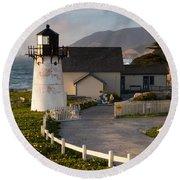 Point Montara Lighthouse  Round Beach Towel