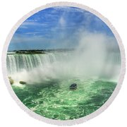 Point Of Land Cut In Two.. Round Beach Towel