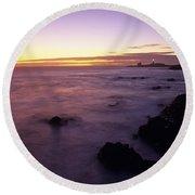 Point Piedras Blancas Lighthouse Round Beach Towel
