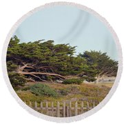 Point Pinos Lighthouse Pacific Grove California Round Beach Towel