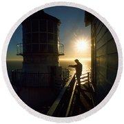 Point Reyes Lighthouse Round Beach Towel