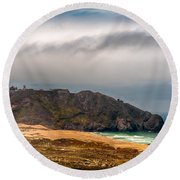 Point Sur Lighthouse Round Beach Towel