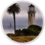 Point Vincente Lighthouse Round Beach Towel
