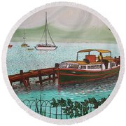 Pointe-a-pitre Martinique Across From Fort Du France Round Beach Towel