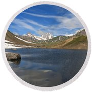 Pointe Rousse Lake - Vertical Composition Round Beach Towel