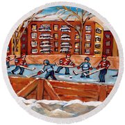 Pointe St. Charles Hockey Rink Southwest Montreal Winter City Scenes Paintings Round Beach Towel