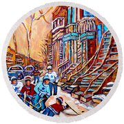 Pointe St.charles Hockey Game Near Winding Staircases Montreal Winter City Scenes Round Beach Towel