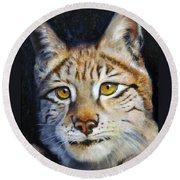 Pointed Advantage - Siberian Lynx Round Beach Towel