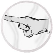 Pointing Finger Vector Black And White Round Beach Towel