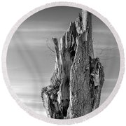 Pointing To The Heavens - Bw Round Beach Towel