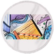 Points Lines And Circles Round Beach Towel