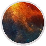 Points Of Light Abstract Art By Sharon Cummings Round Beach Towel by Sharon Cummings