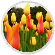 Pointy Tulips Round Beach Towel