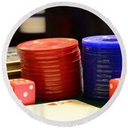 Poker Chips Round Beach Towel by Paul Ward
