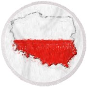 Poland Painted Flag Map Round Beach Towel