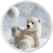 Polar Bear Decoration Round Beach Towel