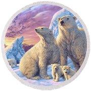 Polar Bear Family Round Beach Towel