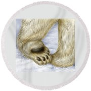 Polar Bear Paw Round Beach Towel