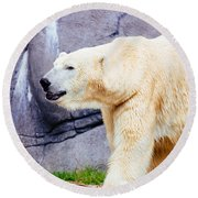 Polar Bear Walking Round Beach Towel