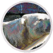 Polar Bear With Enameled Effect Round Beach Towel