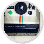 Polaroid Camera.  Round Beach Towel