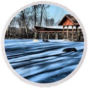 Pole Barns In The Winter Round Beach Towel