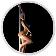 Pole Dancer... Round Beach Towel