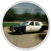 Police Car Round Beach Towel