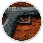 Police - Gun - The Modern Gun  Round Beach Towel
