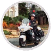 Police - Motorcycle Cop On Patrol Round Beach Towel