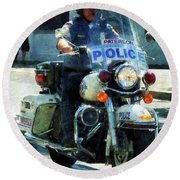 Police - Motorcycle Cop Round Beach Towel