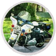 Police - Police Motorcycle Round Beach Towel