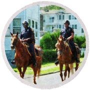 Police - Two Mounted Police Round Beach Towel