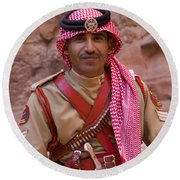 Policeman In Petra Jordan Round Beach Towel by David Smith
