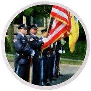 Policeman - Police Color Guard Round Beach Towel by Susan Savad