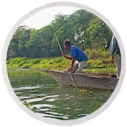 Poling A Dugout Canoe In The Rapti River In Chitwan National Park-nepal Round Beach Towel