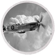 Polish Spitfire Ace Bw Round Beach Towel