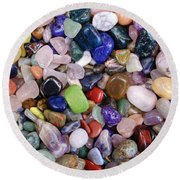 Polished Gemstones Round Beach Towel
