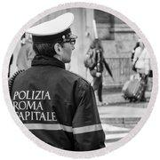Polizia Roma Capitale Round Beach Towel