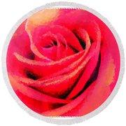 Polka Dot Beautiful Rose Round Beach Towel