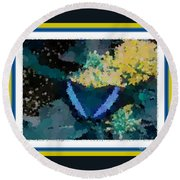 Polka Dot Butterfly Blue Round Beach Towel